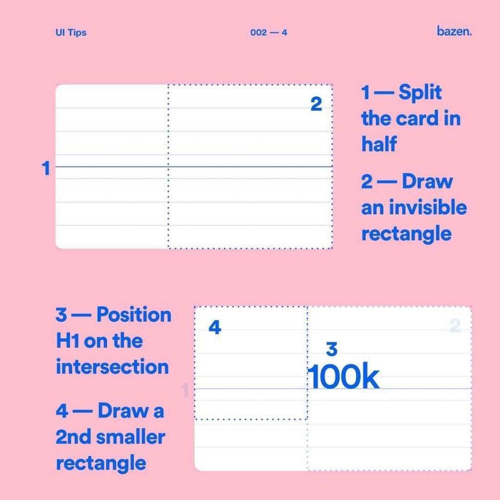 1. Split the card in half. 2. Draw an invisible rectangle. 3. Position H1 on the intersection. 4. Draw a 2nd smaller rectangle.