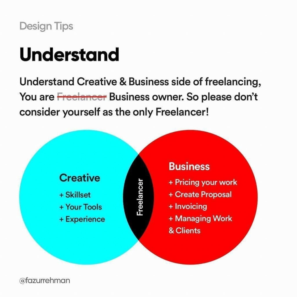 Understand. Understand Creative&Business side of freelancing. You are business owner. So please don't consider yourself as the only Freelancer!