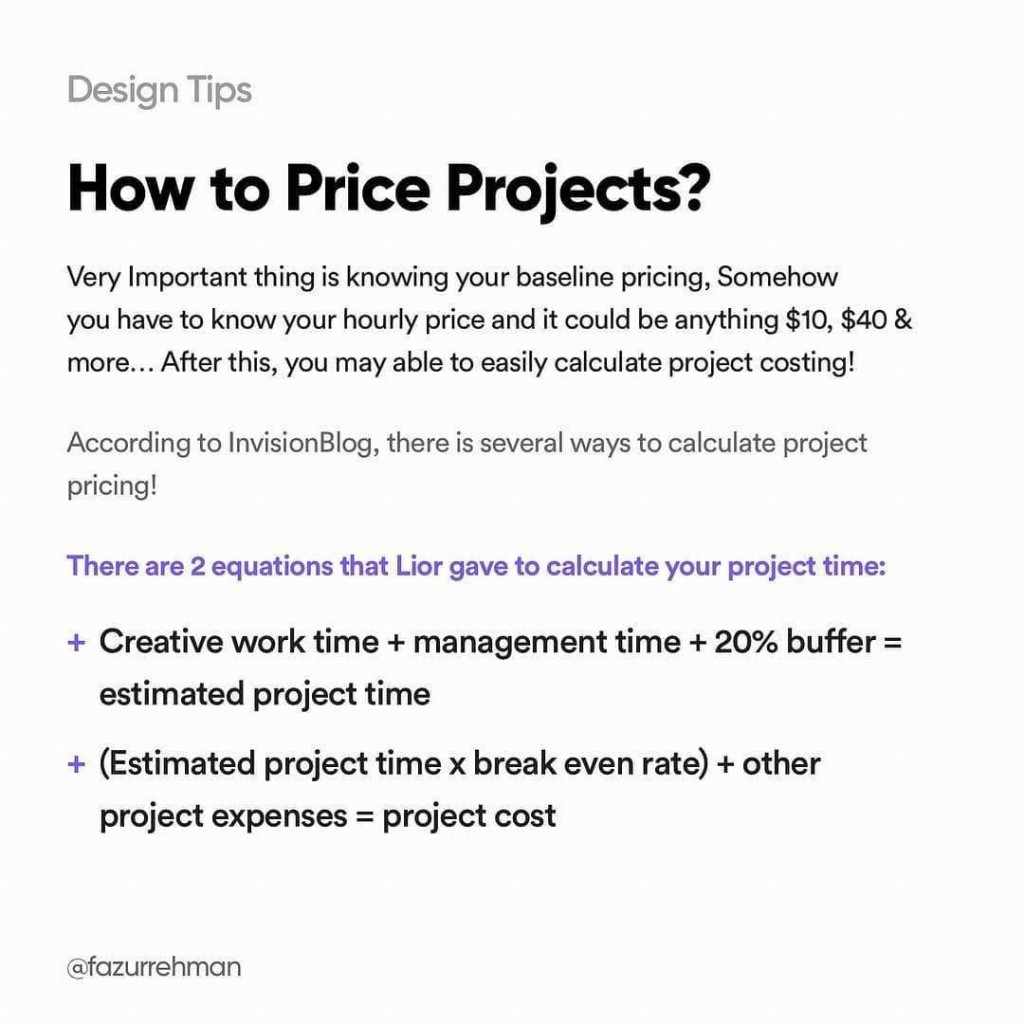 How to price projects? Very important thing is knowing your baseline pricing, somehow you have to know your hourly price and it could be anything $10, $40 & more. After this, you may able to easily calculate project costing!