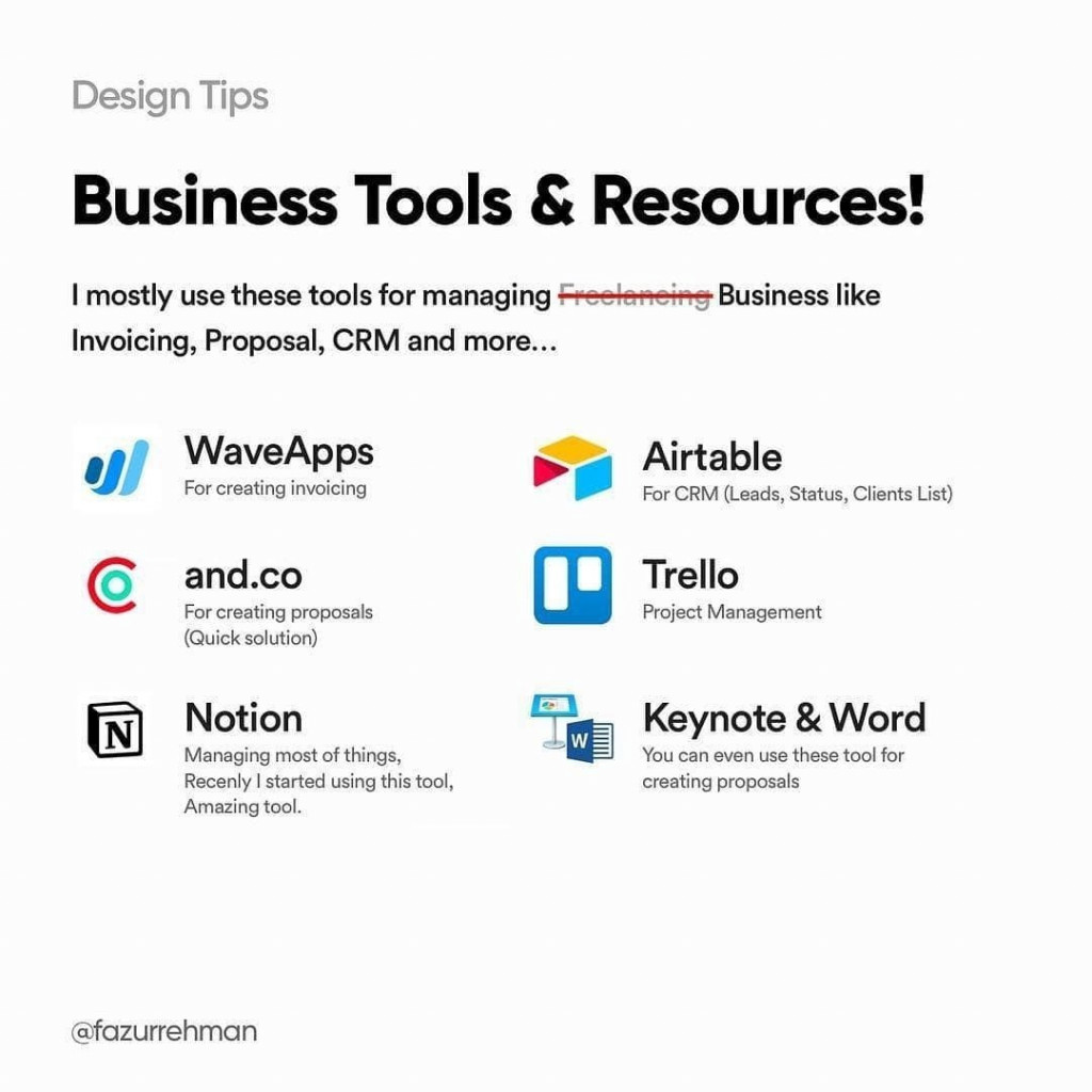 Business Tools & Resources! I mostly use these for managing business like Invoicing, Proposal, CRM and more...