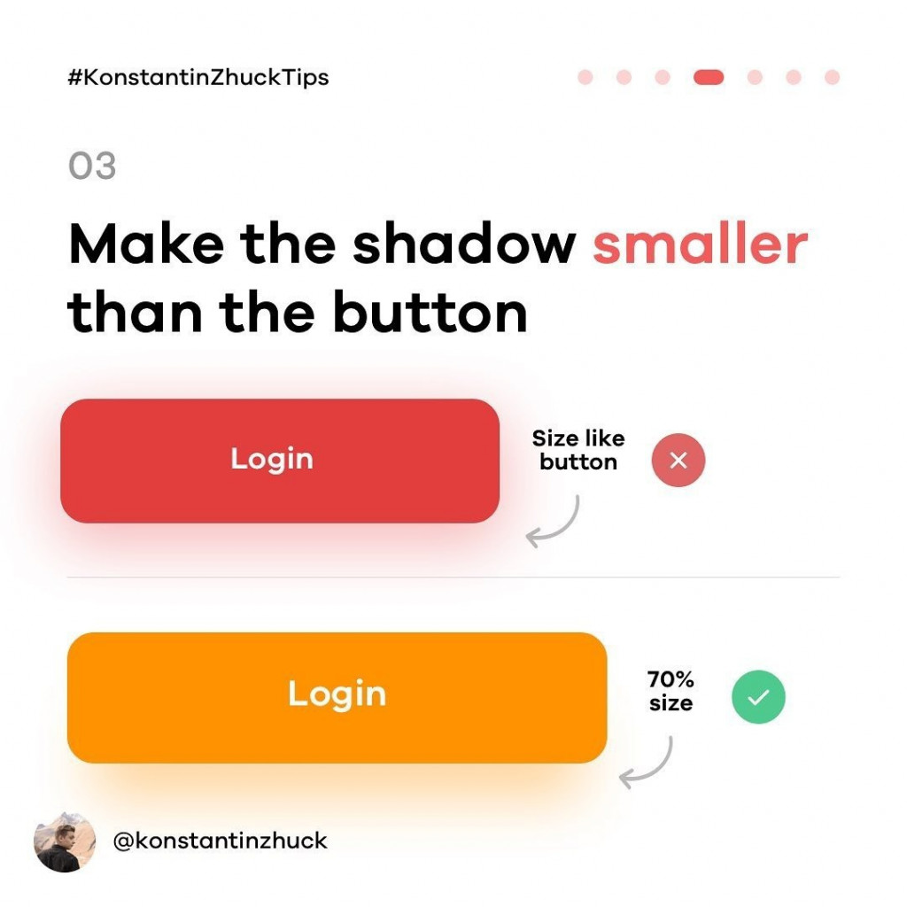 3. Make the shadow smaller that the button