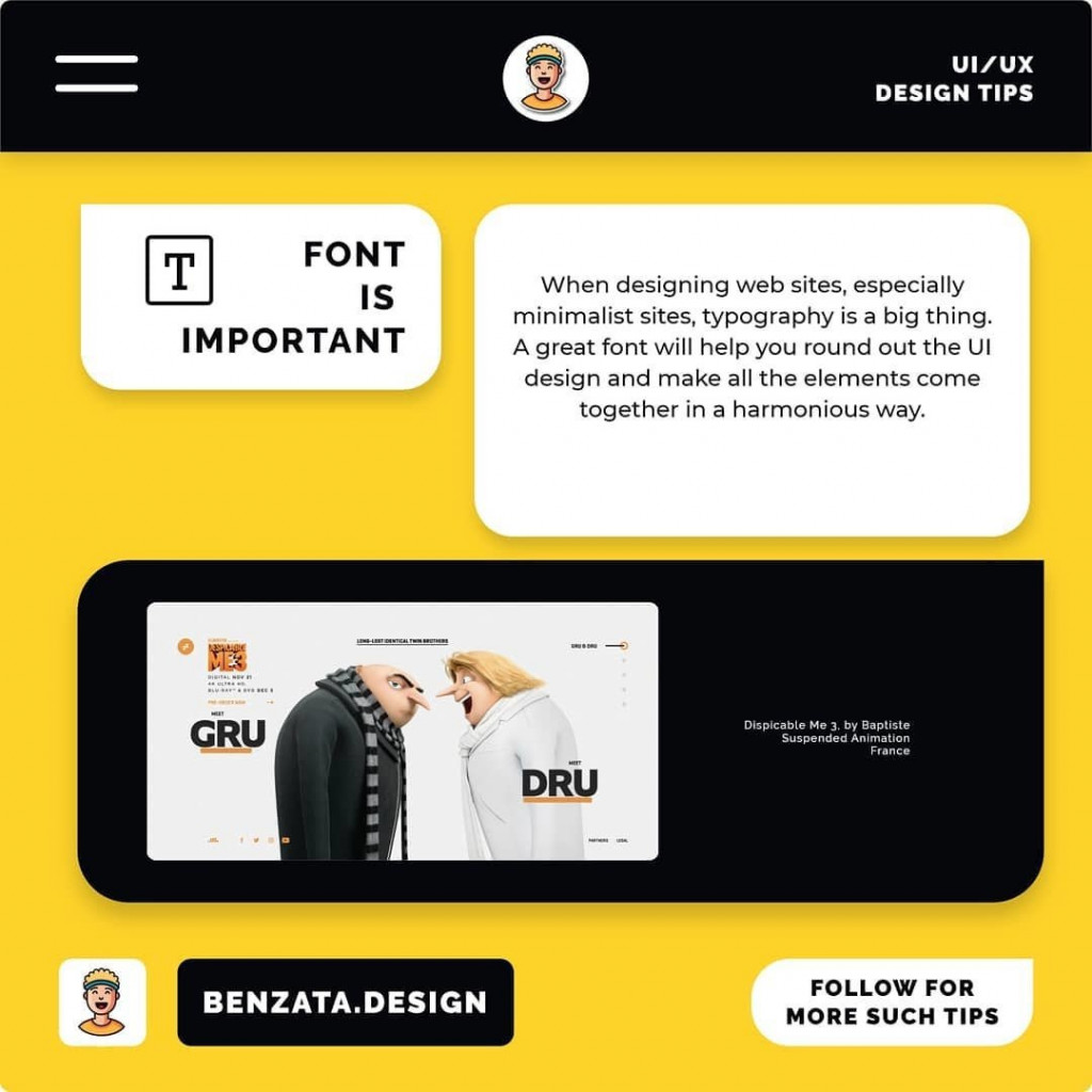 Font is Important. When designing web sites, especially minimalist sites, typography is a big thing. A great font will help you round out the UI design and make all the elements come together in a harmonious way.