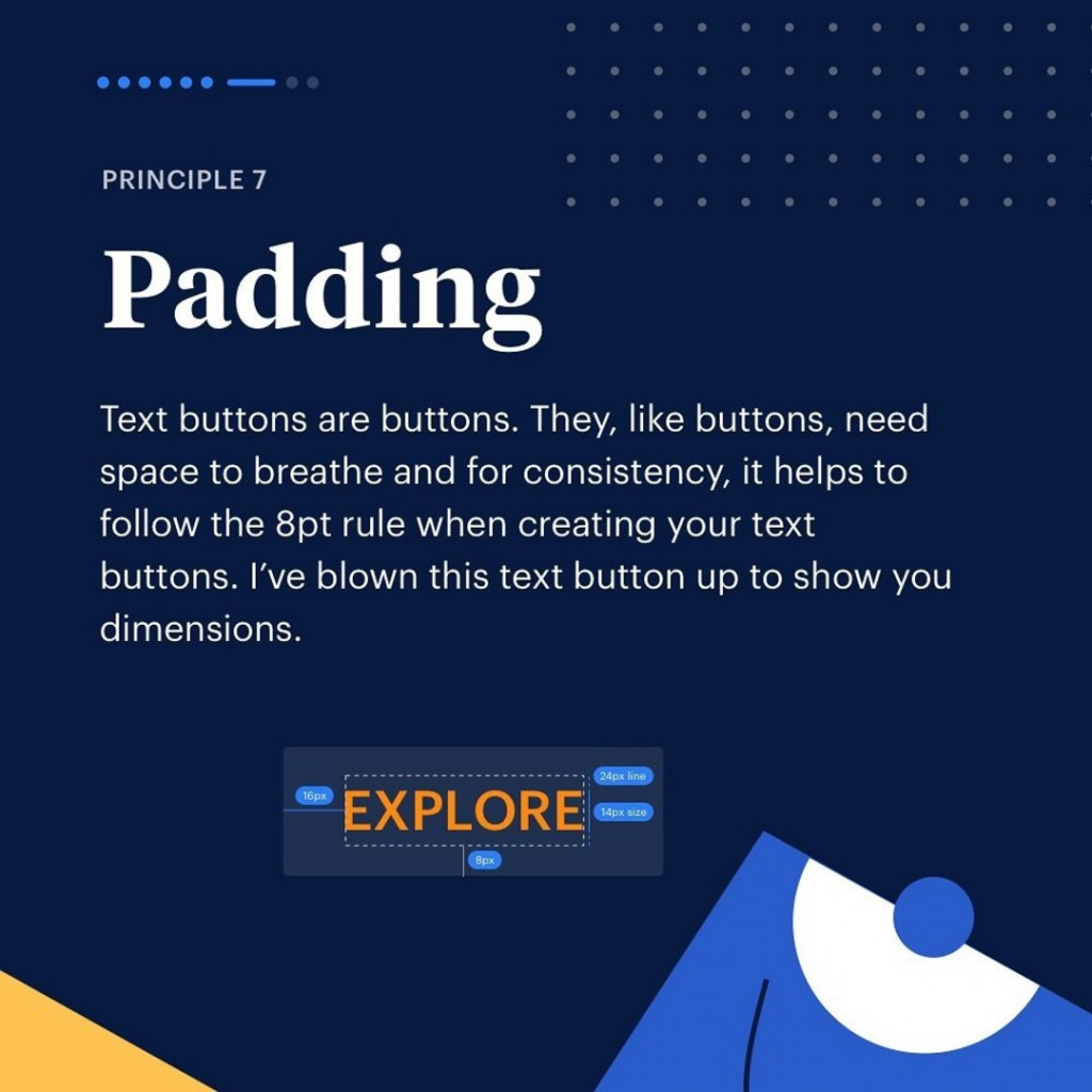 Principle 7. Padding. Text buttons are buttons. They, like buttons, need space to breathe and for consistency, it help to follow the 8pt rule when creating your text buttons. I've blown this text button up to show you dimensions.