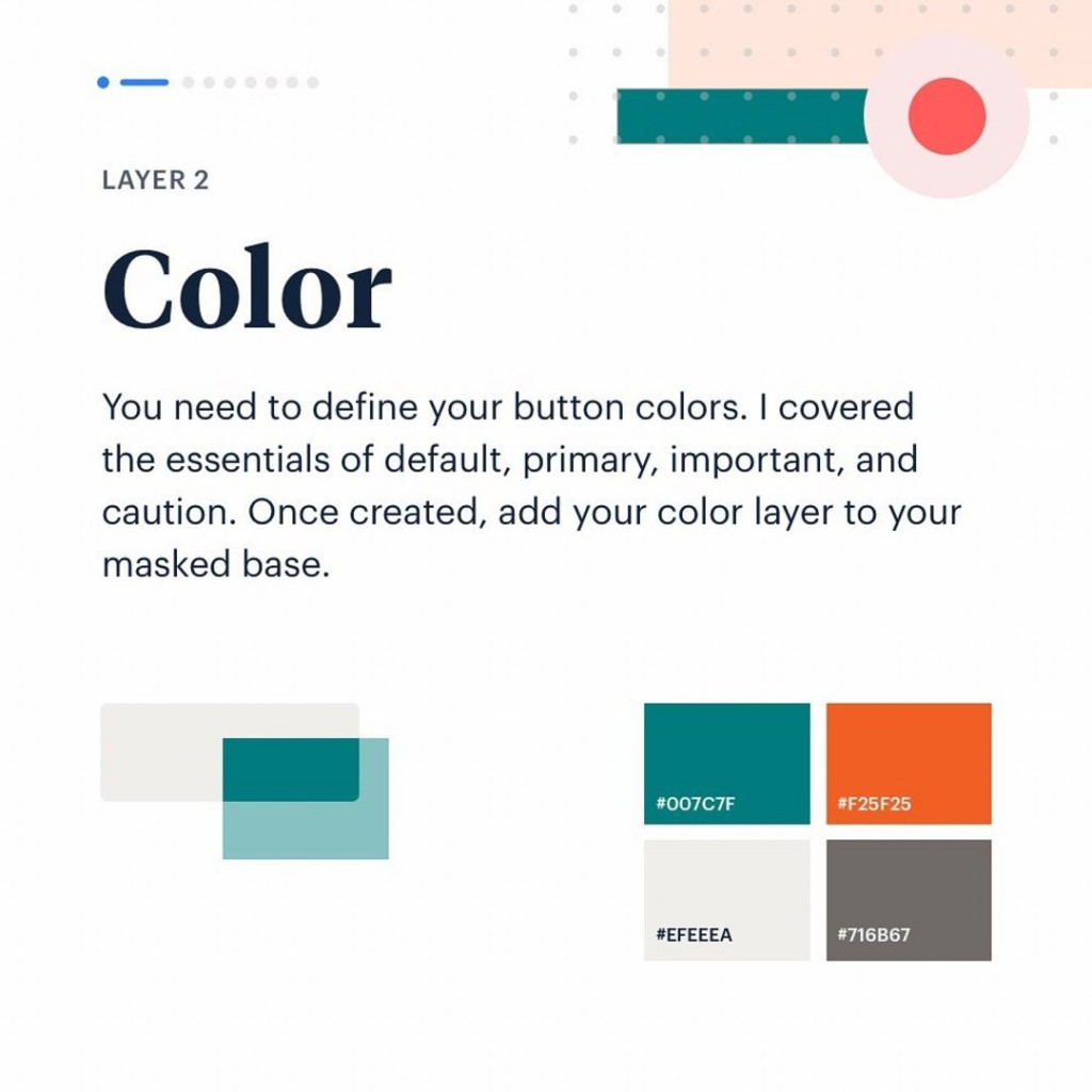 Layer 2. Color.  You need to define your button colors. I covered the essentials fo default, primary, important, and caution. Once created, add your color layer to your masked base.