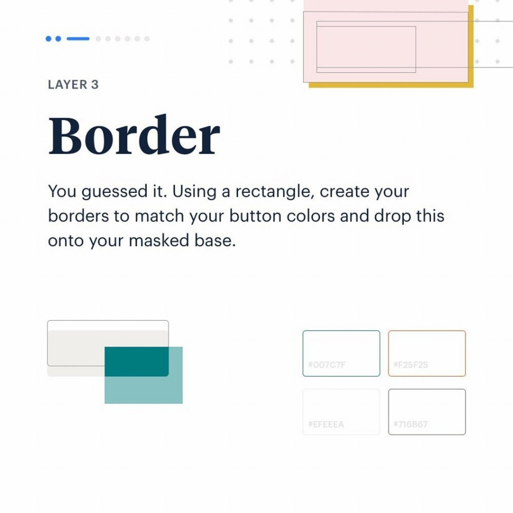 Layer 3. Border.  You guessed it. Using a rectangle, create your borders to match your button colors and drop this onto your masked base.