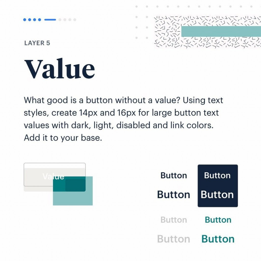 Layer 5. Value.  What good is a button without a value? Using text styles, create 14px and 16px for large button text values with dark, light, disabled and link colors. Add it to your base.