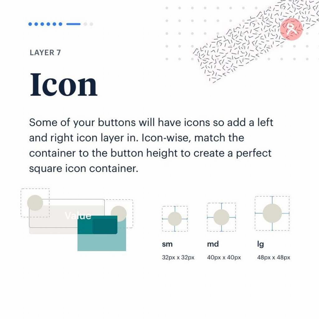 Layer 7. Icon.  Some of your buttons will have icons so add a left and right icon layer in. Icon-wise, match the container to the button height to create a perfect square icon container.