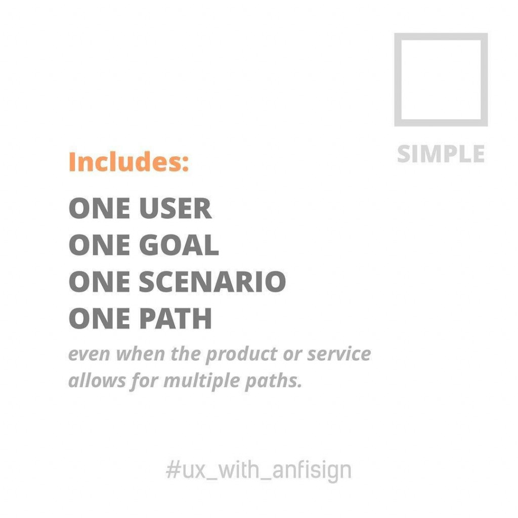 Simple includes: one user, one goal, one scenario, one path.  Even when the product or service allows for multiple paths.