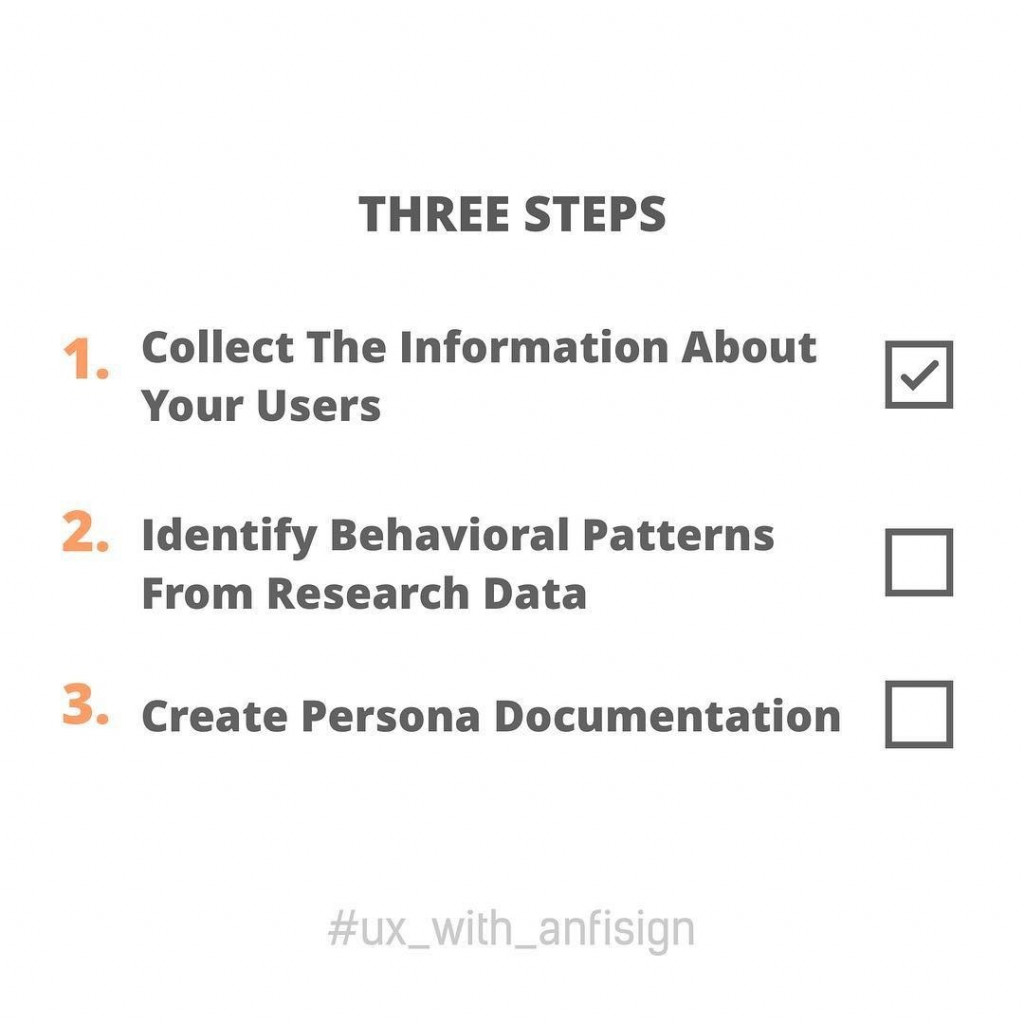 Three Steps  1. Collect the information about your users 2. Identify behavioral patterns from research data 3. Create persona documentation