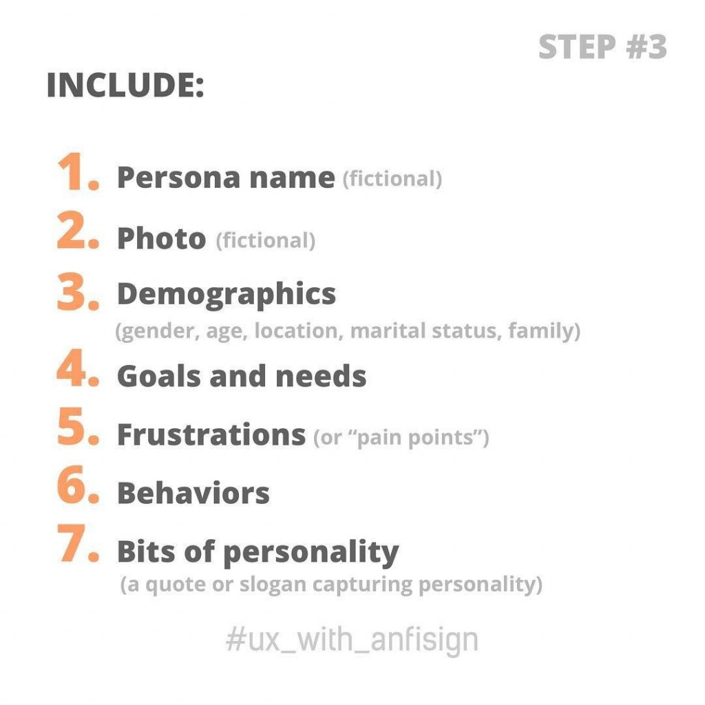 Include:  1. Persona name (fictional) 2. Photo (fictional) 3. Demographics (gender, age, location, marital status, family) 4. Goals and needs 5. Frustrations (or 'pain points') 6. Behaviors 7. Bits of personality (a quote or slogan capturing personality)