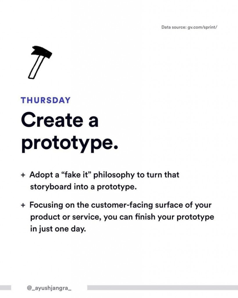 "Thursday. Create a prototype.  - Adopt a ""fake it"" philosophy to turn that storyboard into a prototype. - Focusing on the customer-facing surface of your product or service, you can finish your prototype in just one day."