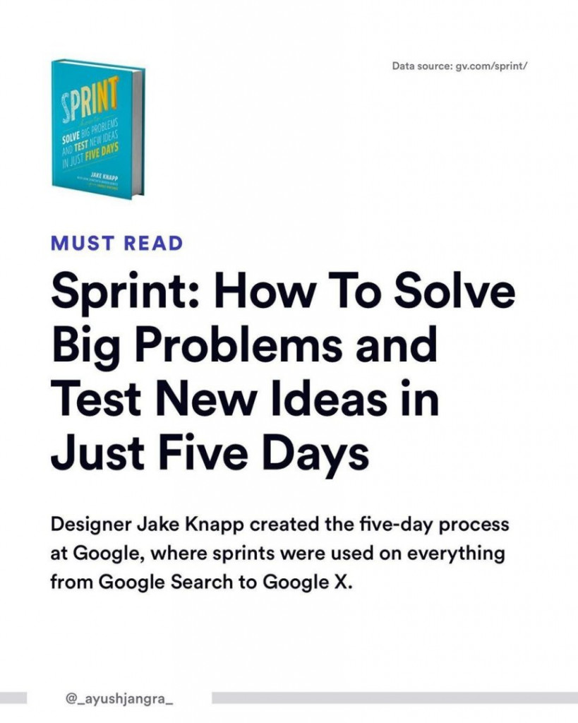 Must Read.  Sprint: How To Solve Big Problem and Test New Ideas in Just Five Days.  Designer Jake Knapp created the five-day process at Google, where sprints were used on everything from Google Search to Google X.