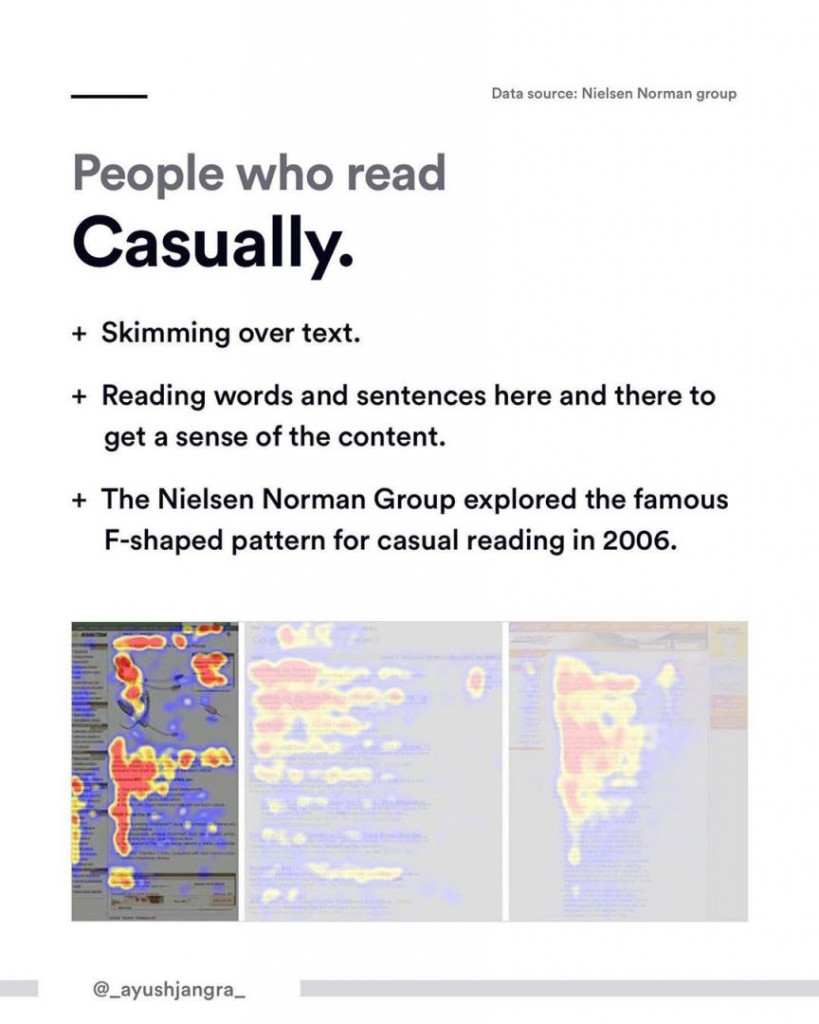 People who read Casually.  - Skimming over text. - Reading words and sentences here and there to get a sense of the content. - The Nielsen Norman Group explored the famous F-shaped pattern for casual reading in 2006.