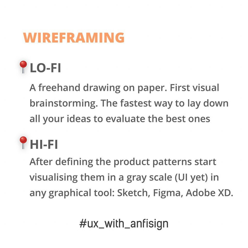 Wireframing  – LO-FI: A freehand drawing on paper. First visual brainstorming. The fastest way to lay down all your ideas to evaluate the best ones. – HI-FI: After defining the product patterns start visualising them in a gray scale (UI yet) in any graphical tool: Sketch, Figma, Adobe XD.