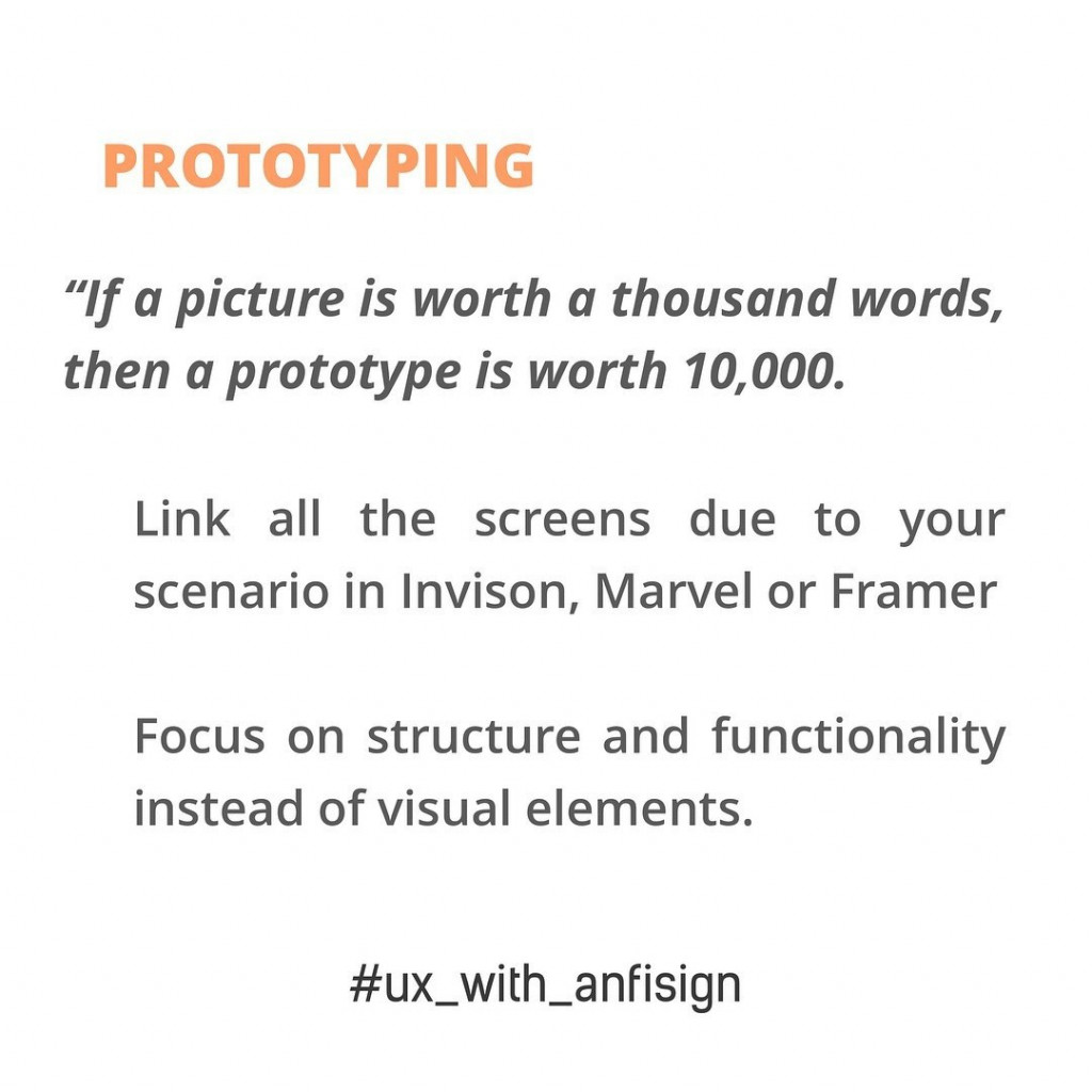"""Prototyping  """"If a picture is worth a thousand words, then a prototype is worth 10,000"""".  - Link all the screens due to your scenario in Invison, Marvel or Framer. Focus on structure and functionality instead of visual elements."""