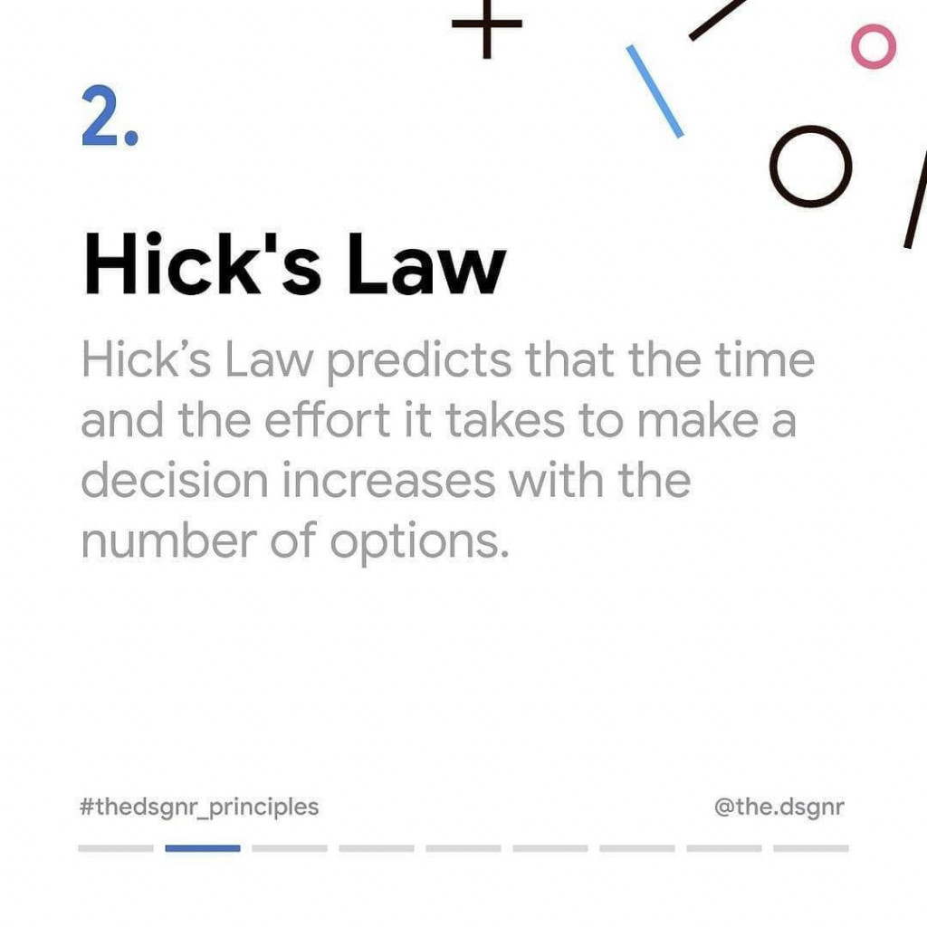 2. Hick's Law  Hick's Law predicts that the time and the effort it takes to make a decision increases with the number of options.