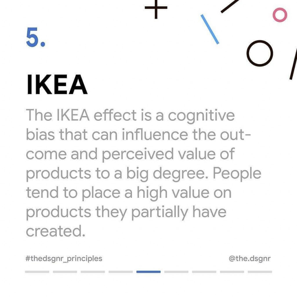 IKEA  The IKEA effect is a cognitive bias that can influence the outcome and perceived value of products to a big degree. People tend to place a high value on products they partially have created.