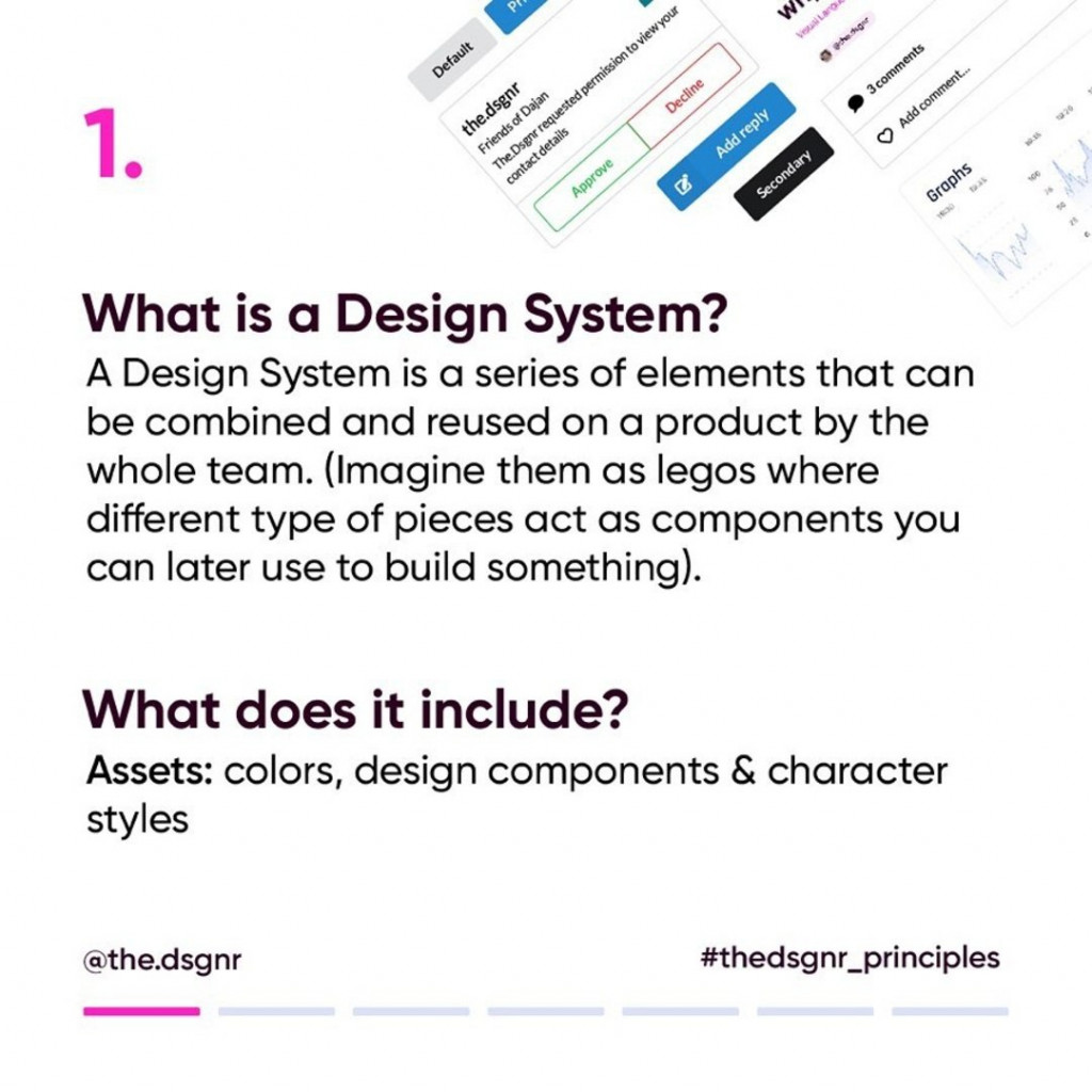 1. What is a Design System? A Design System is a series of elements that can be combined and reused on a product by the whole team. (Imagine them as legos where different type of pieces act as components you can later us to build something).  What does it include? Assets: colors, design components & character styles.