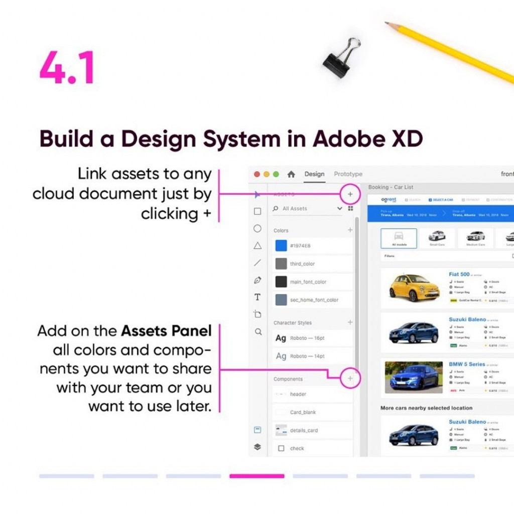 4.1 Build a Design System in Adobe XD  - Link assets to any cloud document just by clicking + - Add on the Assets Panel all colors and components you want to share with your team or you want to use later.