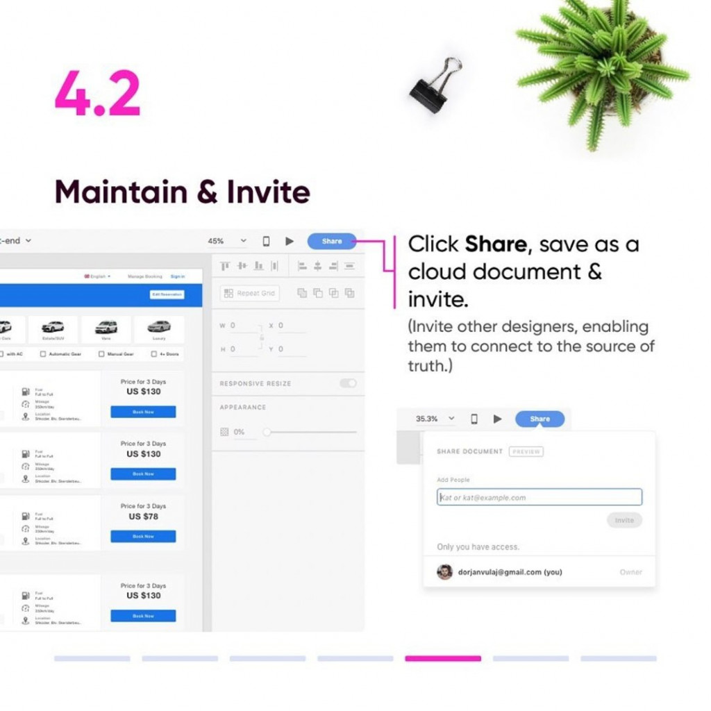 4.2 Maintain & Invite  - Click Share, save as a cloud document & invite.  (Invite other designers, enabling them to connect to the source of truth.)