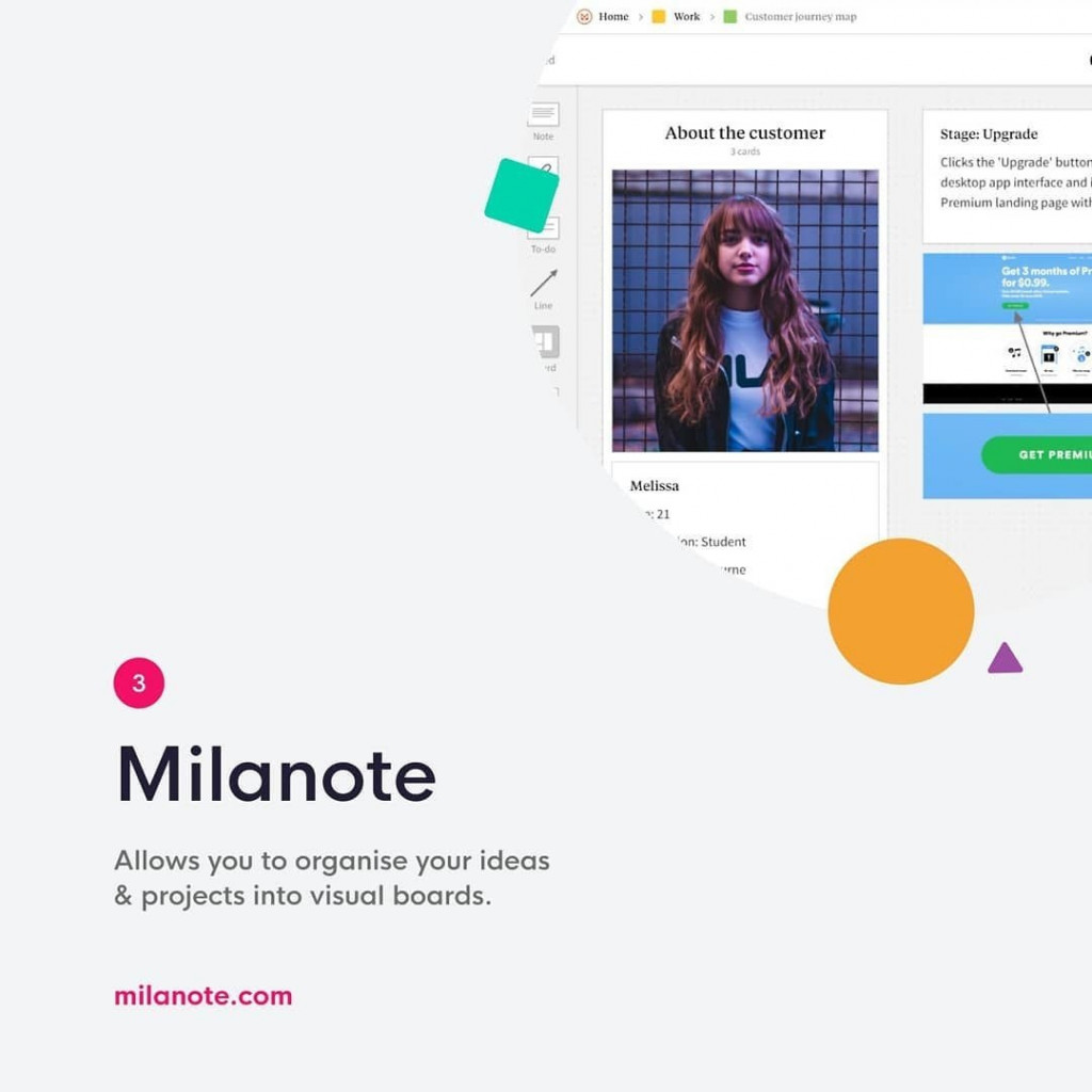 Milanote  Allows you to organise your ideas & projects into visual boards.  milanote.com