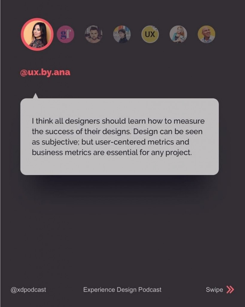@ux.by.ana  I think all designers should learn how to measure the success of their designs. Design can be seen as subjective; but user-centered metrics and business metrics are essential for any project.