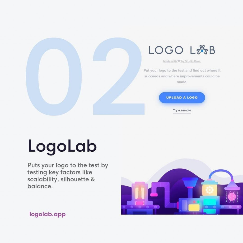 2. LogoLab (@thestudiobros) puts your logo to the test by testing key factors like scalability, silhouette & balance.