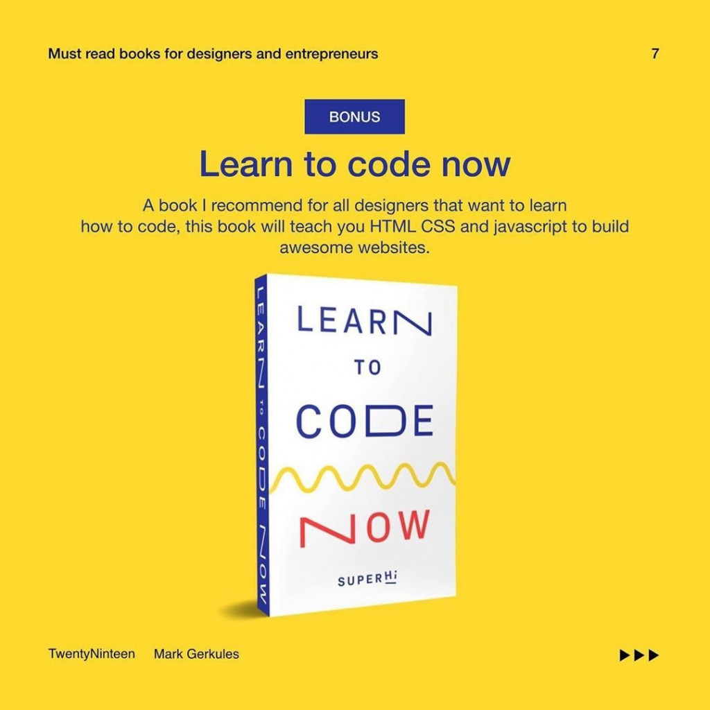 Learn to code now  A book I recommend for all designers that want to learn how to code, this book will teach you HTML CSS and JavaScript to build awesome websites.