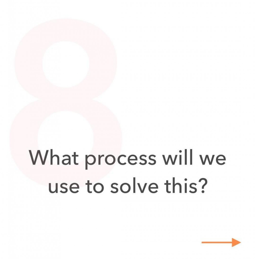 8. What process will we use to solve this?