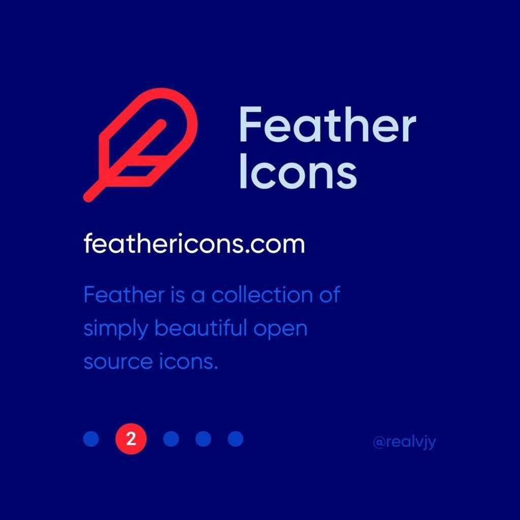 2. Feather icon  feathericons.com  Feather is a collection of simply beautiful open source icons.