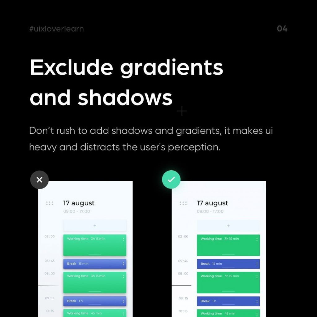 Exclude gradients and shadows.  Don't rush to add shadows and gradients, it makes ui heavy and distracts the user's perception.