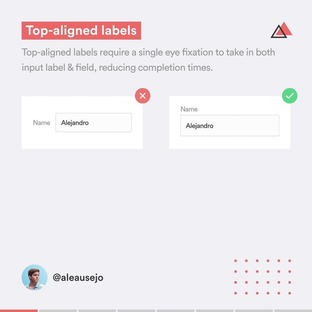 Top-aligned labels  Top-aligned labels require a single eye fixation to take in both input label & field, reducing completion times.