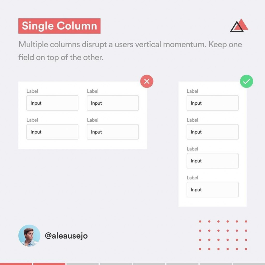 Single Column  Multiple columns disrupt a users vertical momentum. Keep one field on top of the other.