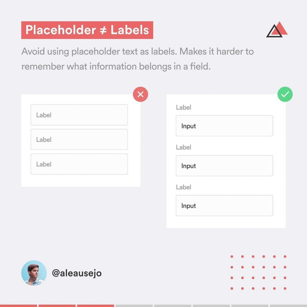 Placeholder not Label  Avoid using placeholder text as labels. Makes it harder to remember what information belongs in a field.