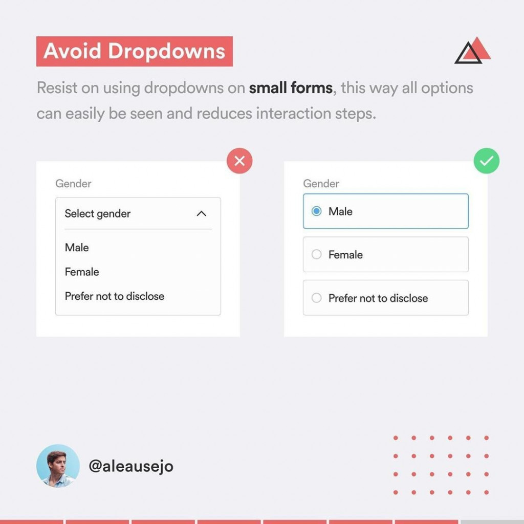 Avoid Dropdowns  Resist on using dropdowns on small forms, this way all options can easily be seen and reduces interaction steps.
