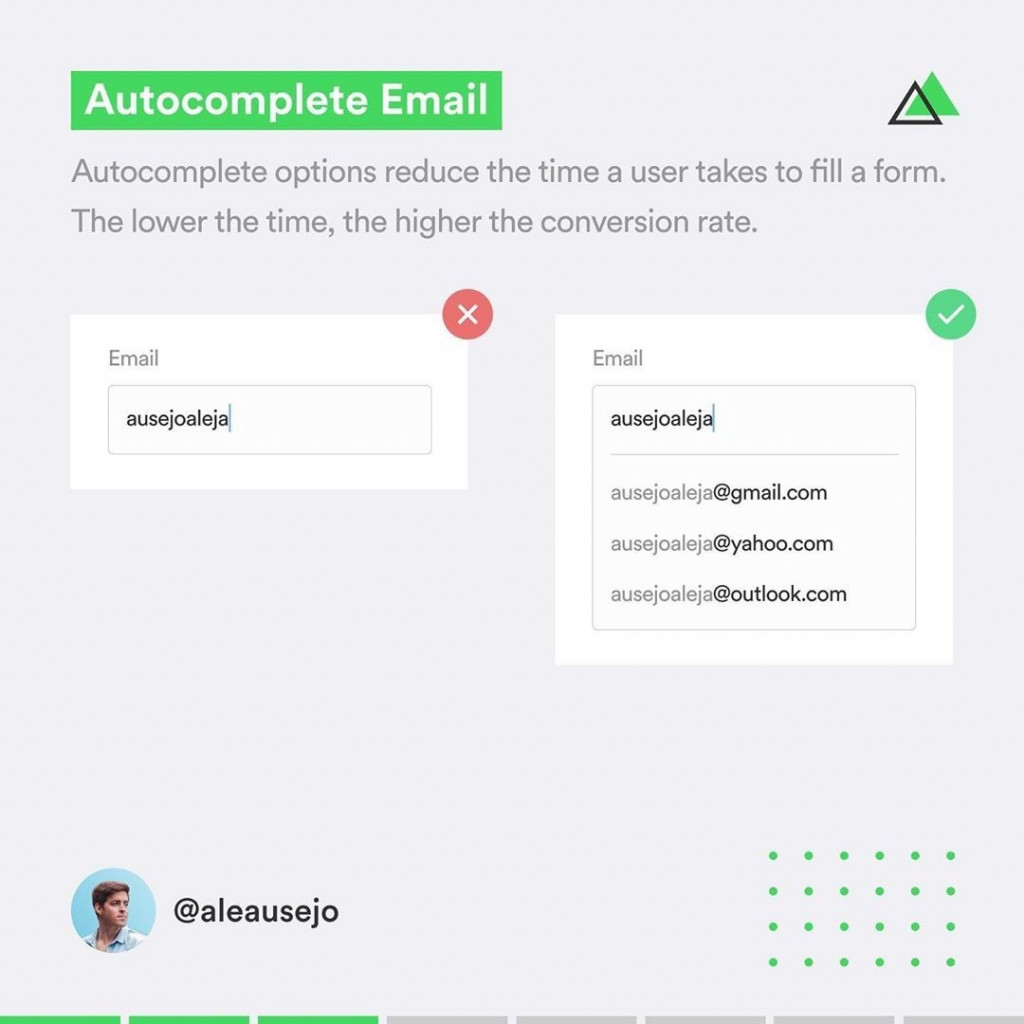 Autocomplete Email  Autocomplete options reduce the time a user takes to fill a form. The lower the time, the higher the conversion rate.