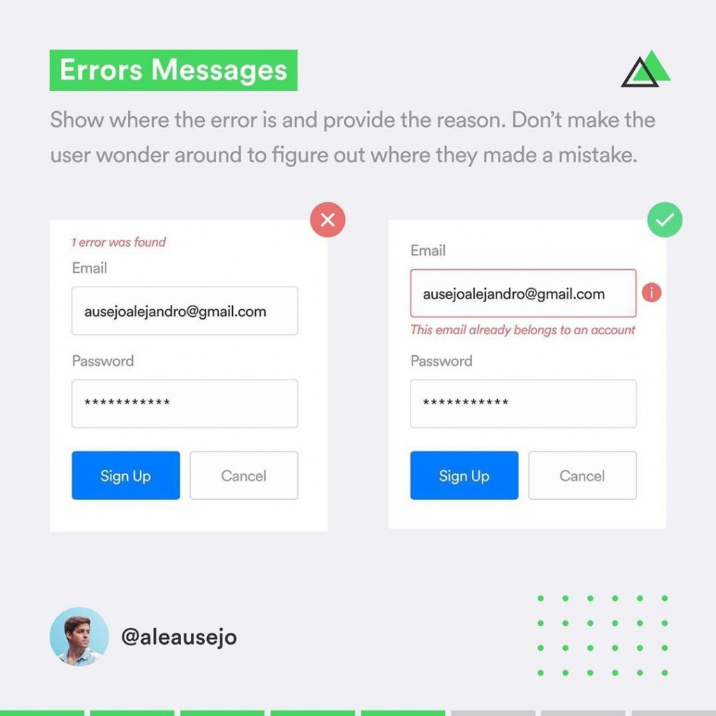 Errors Messages  Show where the error is and provide the reason. Don't make the user wonder around to figure out where they made a mistake.