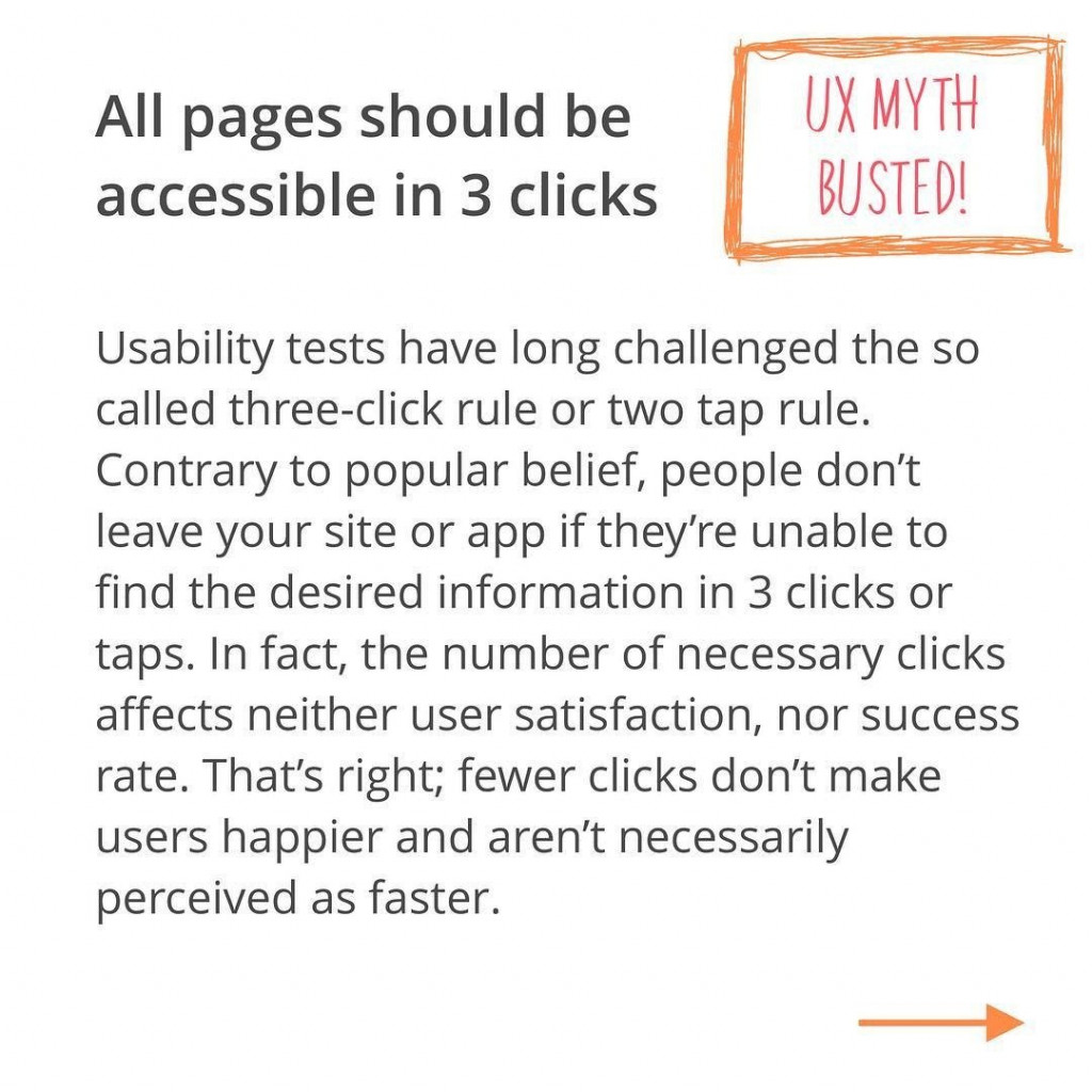 Usability tests have long challenged the so called three-click rule or two tap rule. Contrary to popular belief, people don't leave your site or app if they're unable to find the desired information in 3 clicks or taps. In fact, the number of necessary clicks affects neither user satisfaction, nor success rate. That's right; fewer clicks don't make users happier and aren't necessarily perceived as faster.
