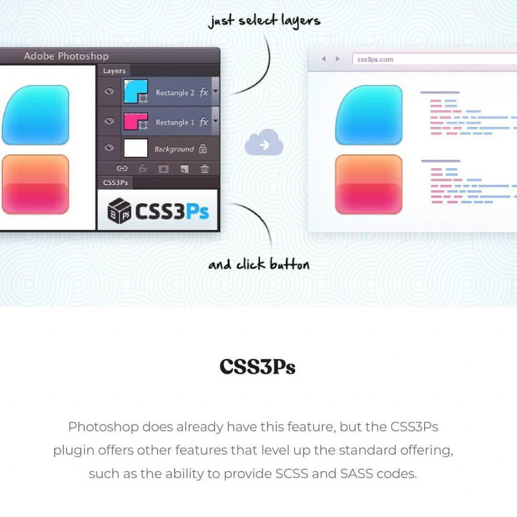 CSS3Ps Photoshop does already have this feature, but the CSS3Ps plugin offers other features that level up the standard offering, such as the ability to provide SCSS and SASS codes.
