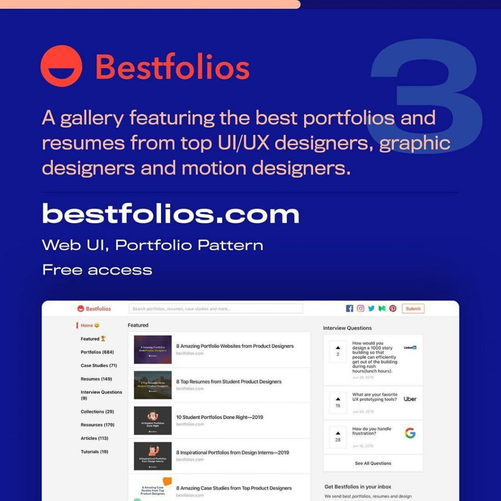 Bestfolios  A gallery featuring the best portfolios and resumes from top Ul/UX designers, graphic designers and motion designers.  bestfolios.com  Web UI, Portfolio Pattern  Free access