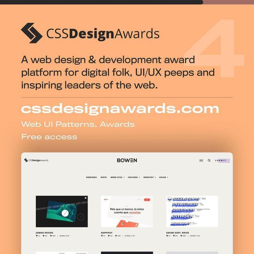 CSSDesignAwards  A web design & development award platform for digital folk, Ul/UX peeps and inspiring leaders of the web.  CSSDesignAwards.com Web UI Patterns, Awards Free access