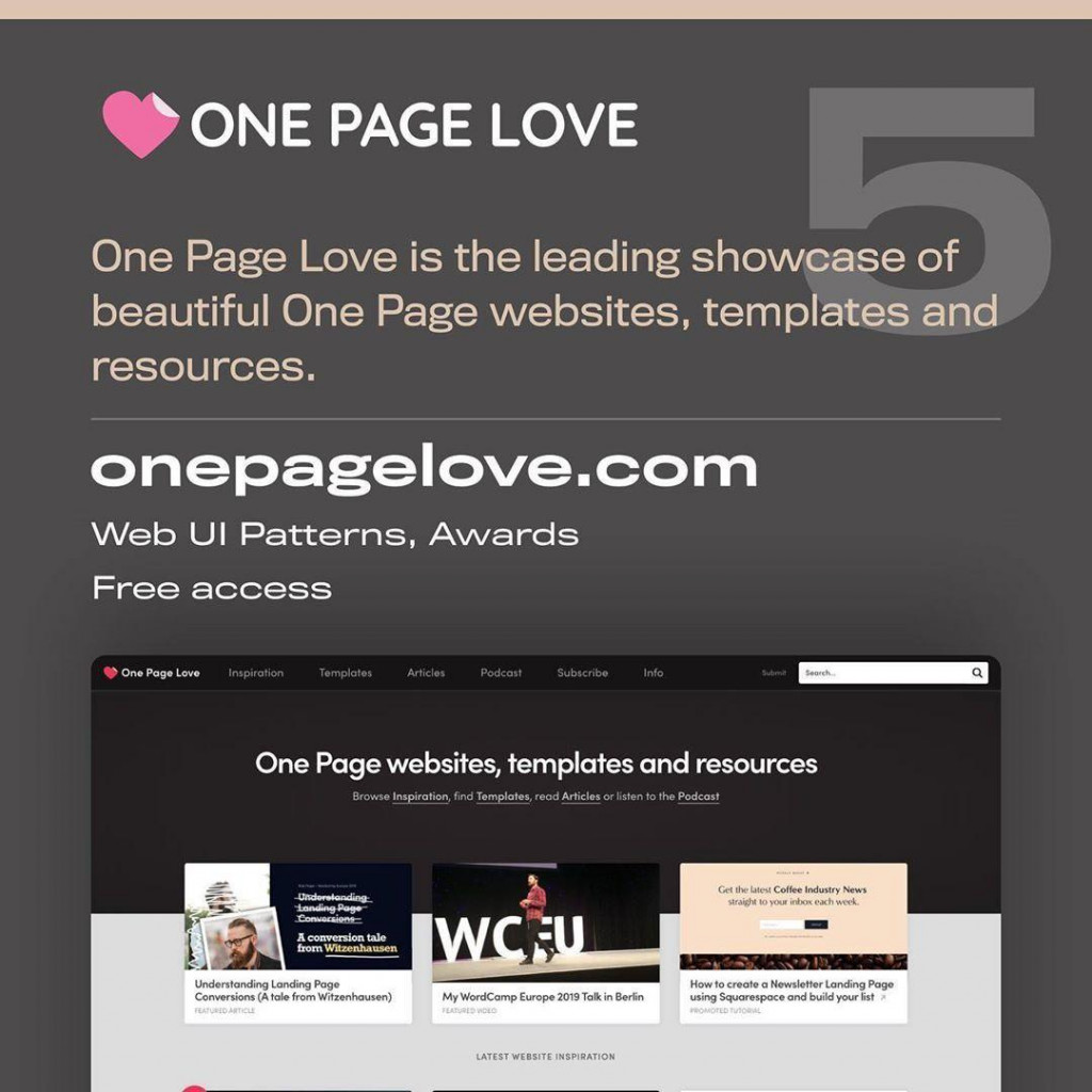 ONE PAGE LOVE  One Page Love is the leading showcase of beautiful One Page websites, templates and resources.  onepagelove.com  Web UI Patterns, Awards  Free access
