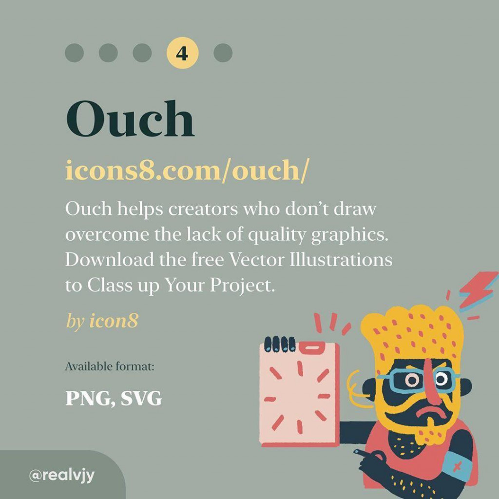 Ouch  icons8.com/ouch/  Ouch helps creators who don't draw overcome the lack of quality graphics. Download the free Vector Illustrations to Class up Your Project. by icon8