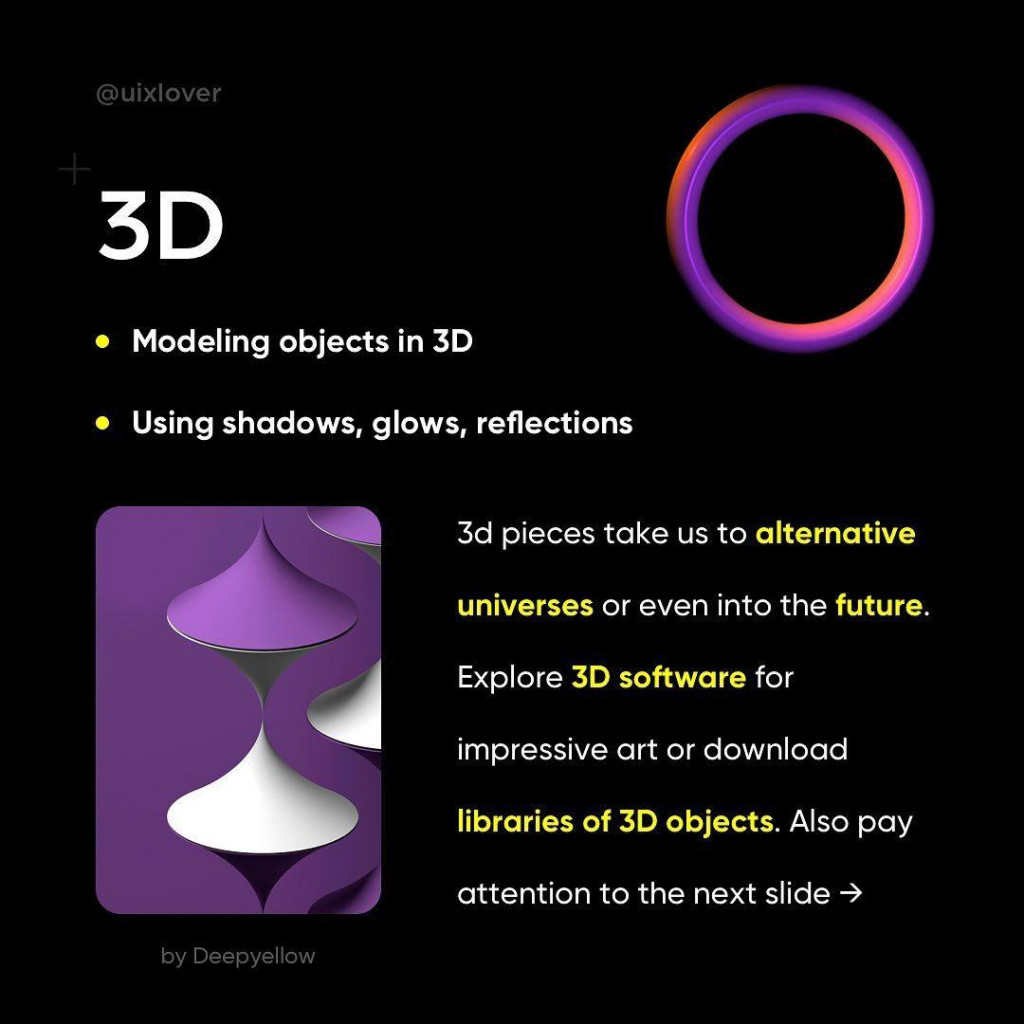 3D  • Modeling objects in 3D  • Using shadows, glows, reflections  3d pieces take us to alternative universes or even into the future. Explore 3D software for impressive art or download libraries of 3D objects. Also pay attention to the next slide