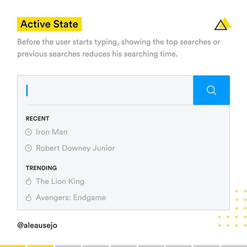 Active State  Before the user starts typing, showing the top searches or previous searches reduces his searching time