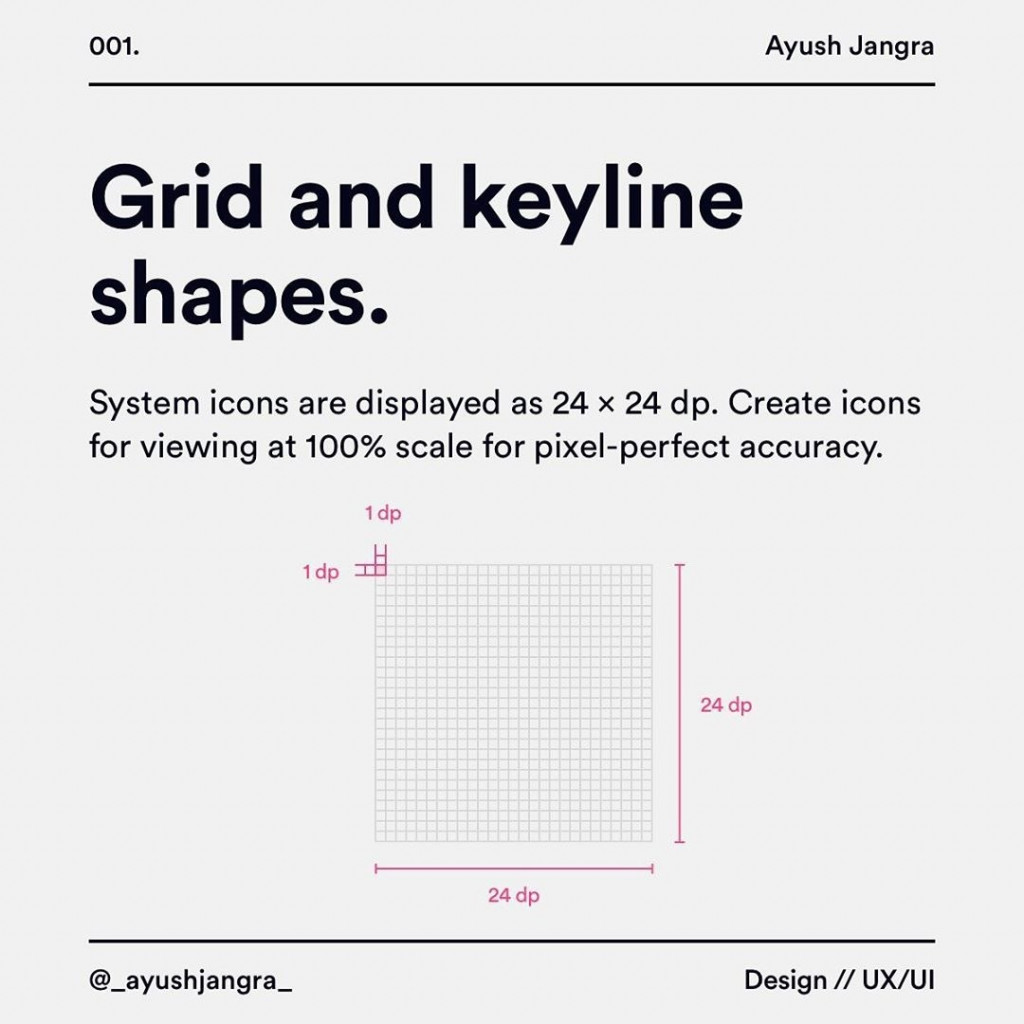 Grid and keyline shapes  System icons are displayed as 24 x 24 dp. Create icons for viewing at 100% scale for pixel-perfect accuracy