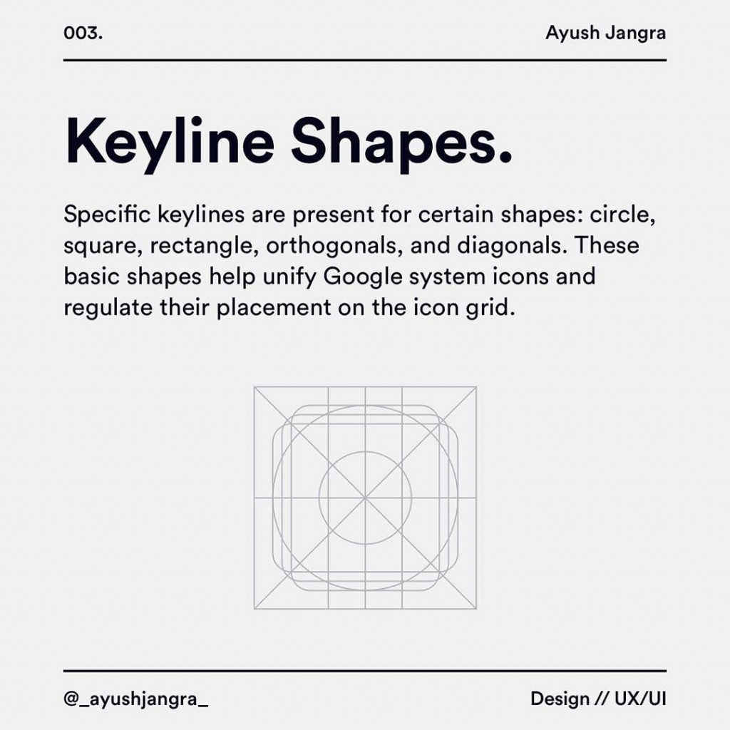 Keyline Shapes  Specihc keylines are present for certain shapes: circle, square, rectangle, orthogonals, and diagonals. These basic shapes help unify Google system icons and regulate their placement on the icon grid