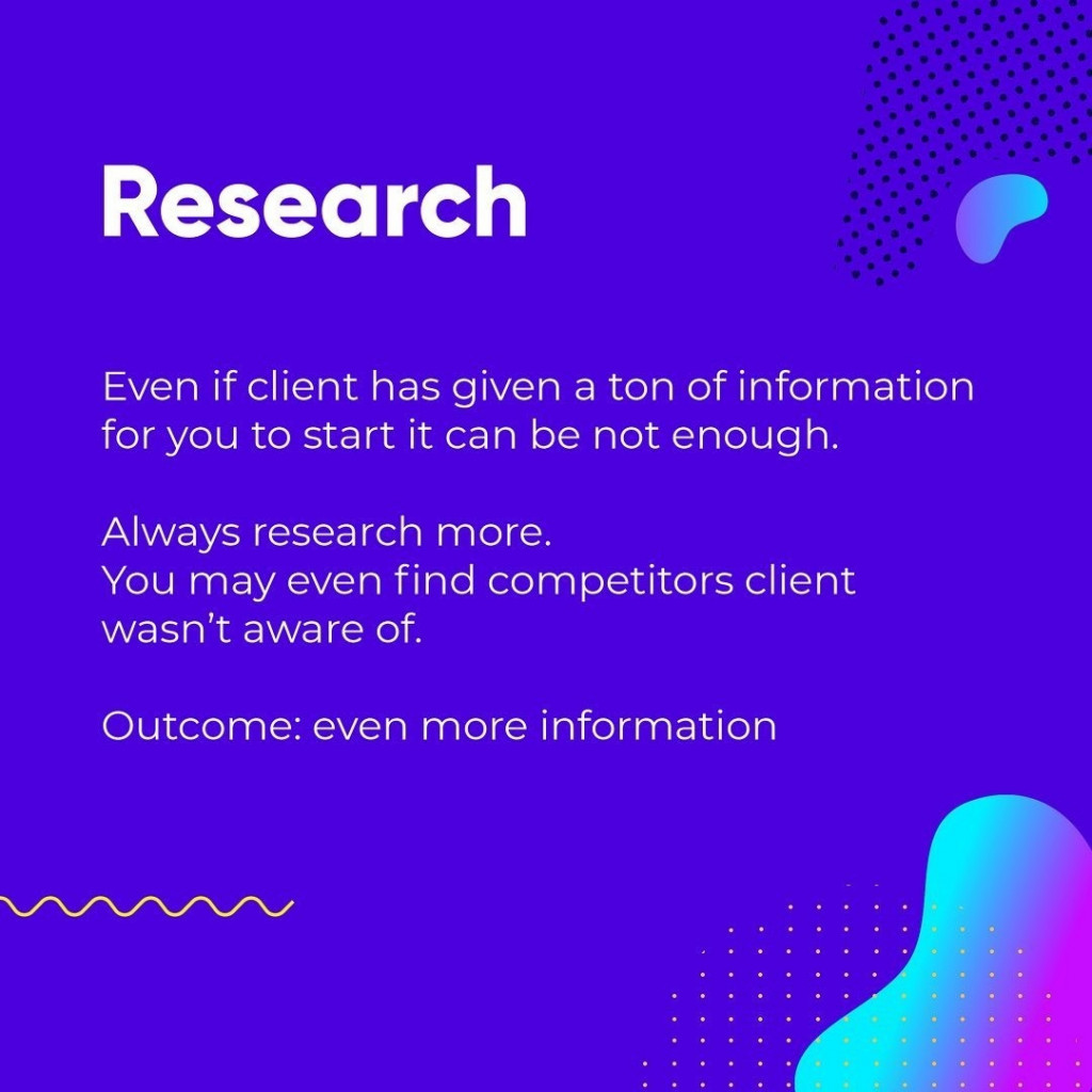 Research  Even if client has given a ton of information for you to start it can be not enough.  Always research more. You may even find competitors client wasn't aware of.  Outcome: even more information