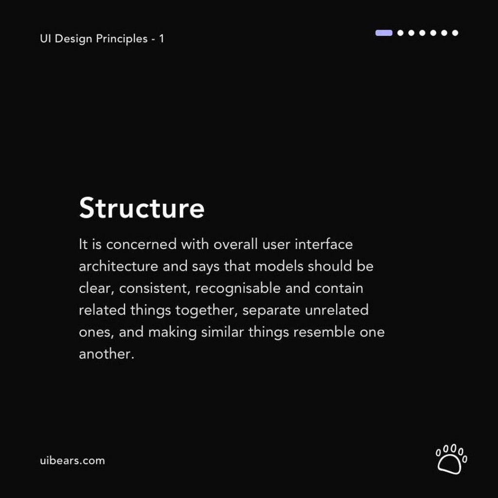 Structure  It is concerned with overall user interface architecture and says that models should be clear, consistent, recognisable and contain related things together, separate unrelated ones, and making similar things resemble one another.