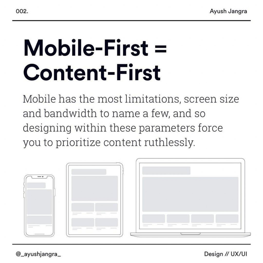 Mobile-First=Content-First  Mobile has the most limitations screen size and bandwidth to name a few and so designing wlthin these parameters force you to prioritize content ruthlessly